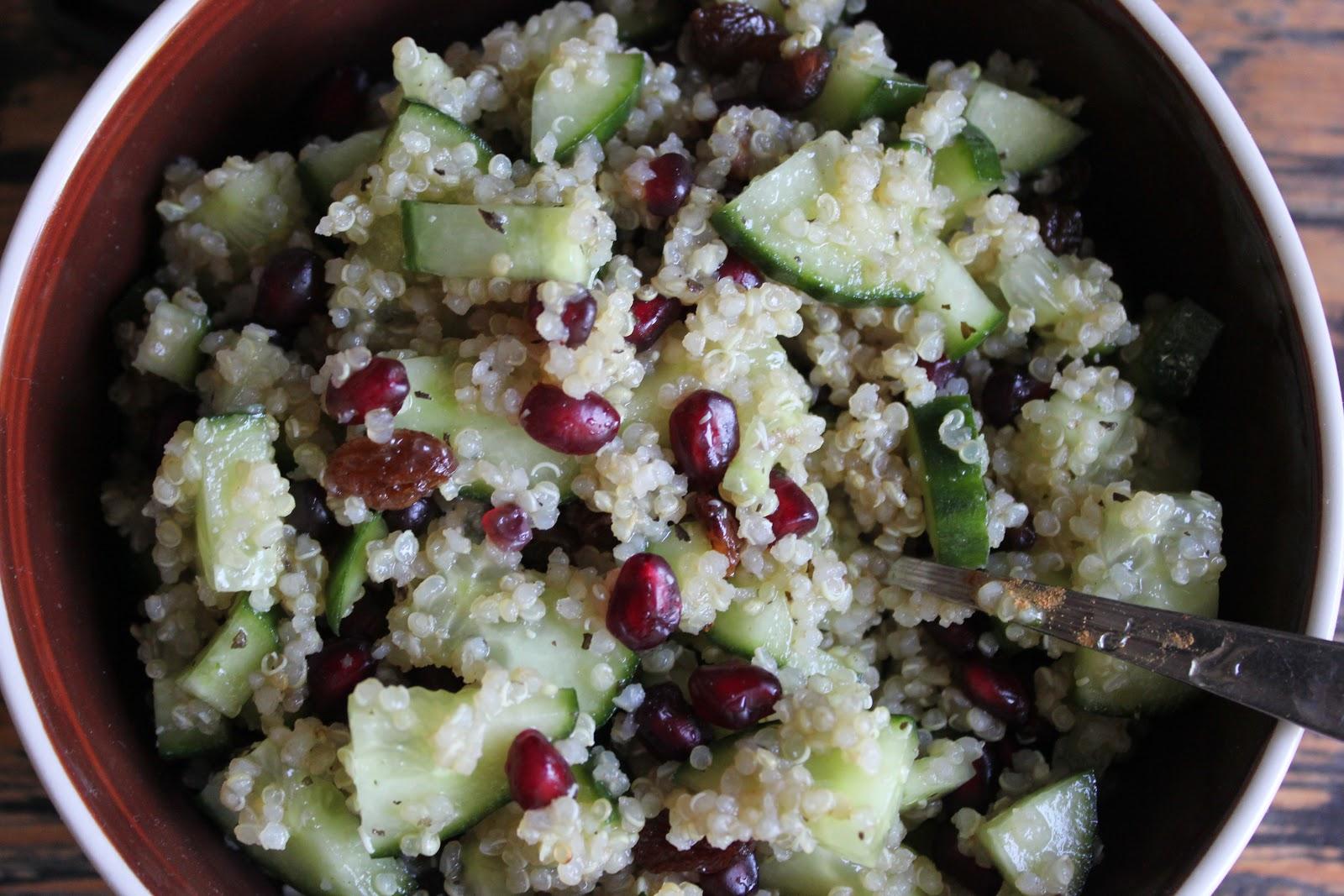 Komkommer Granaatappel Quinoa Salade