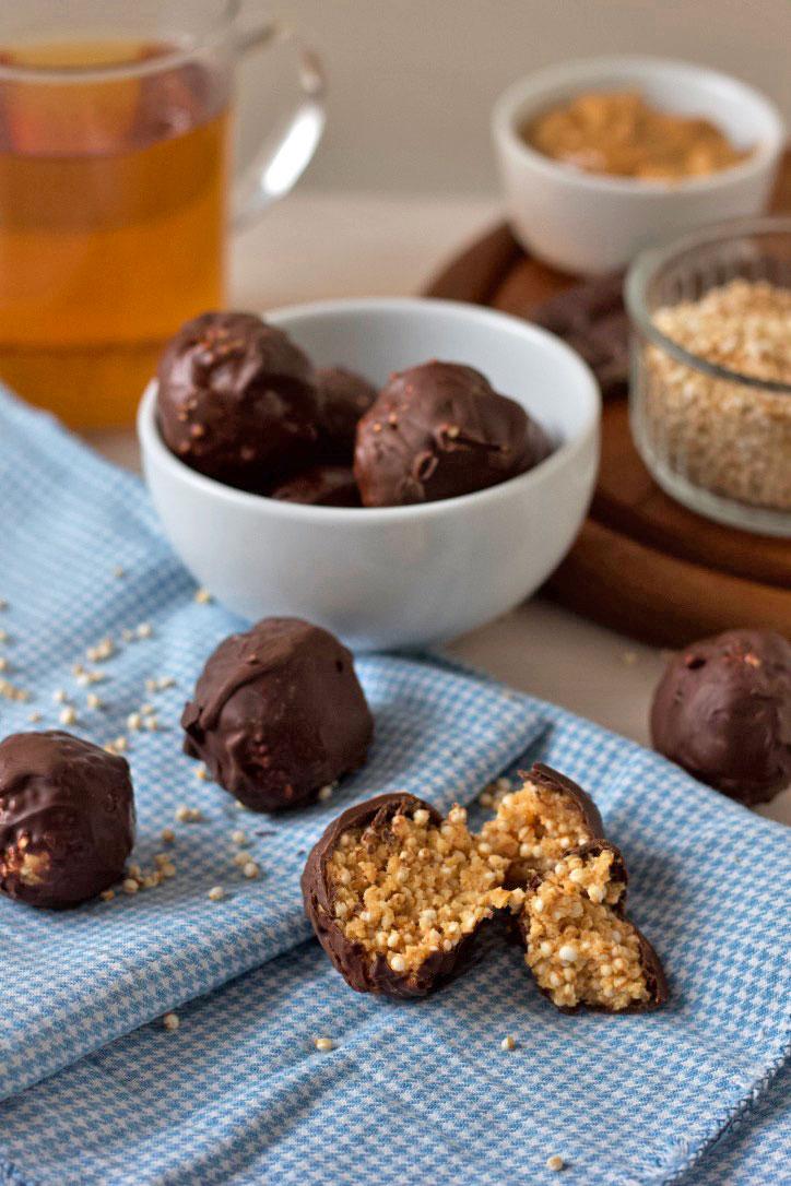 Gepofte Quinoa Pindakaas Bonbons