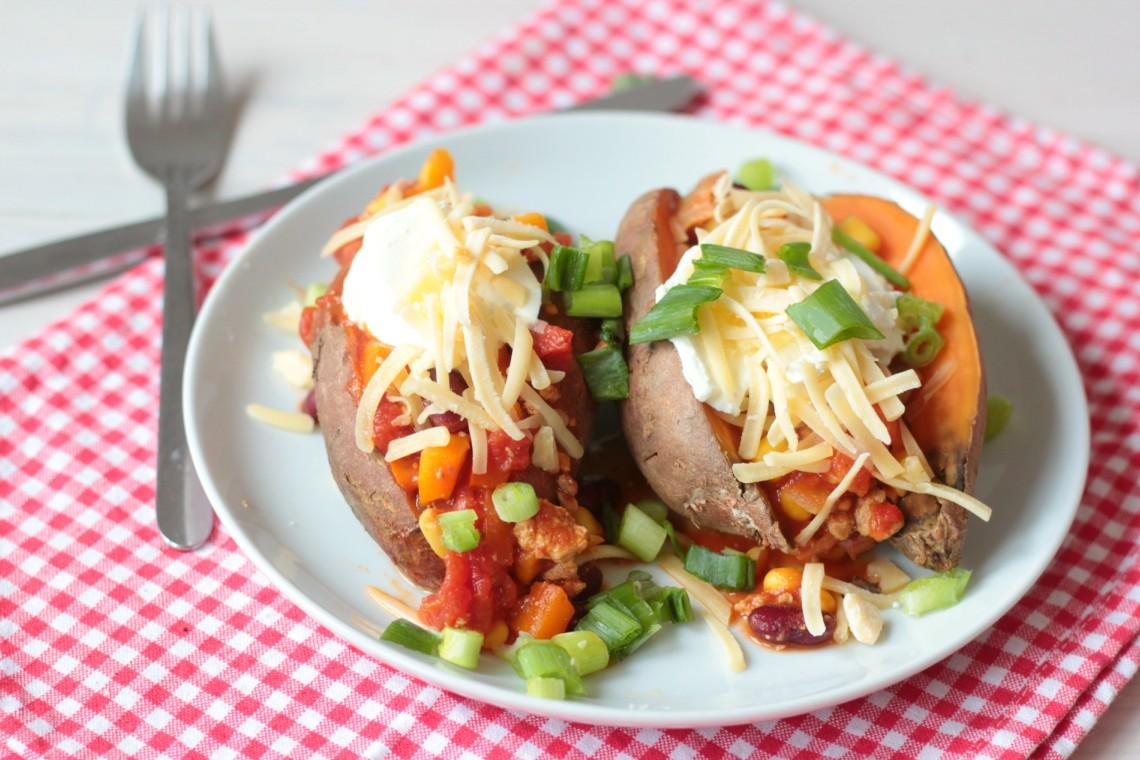Gevulde zoete aardappel -Mexicaans