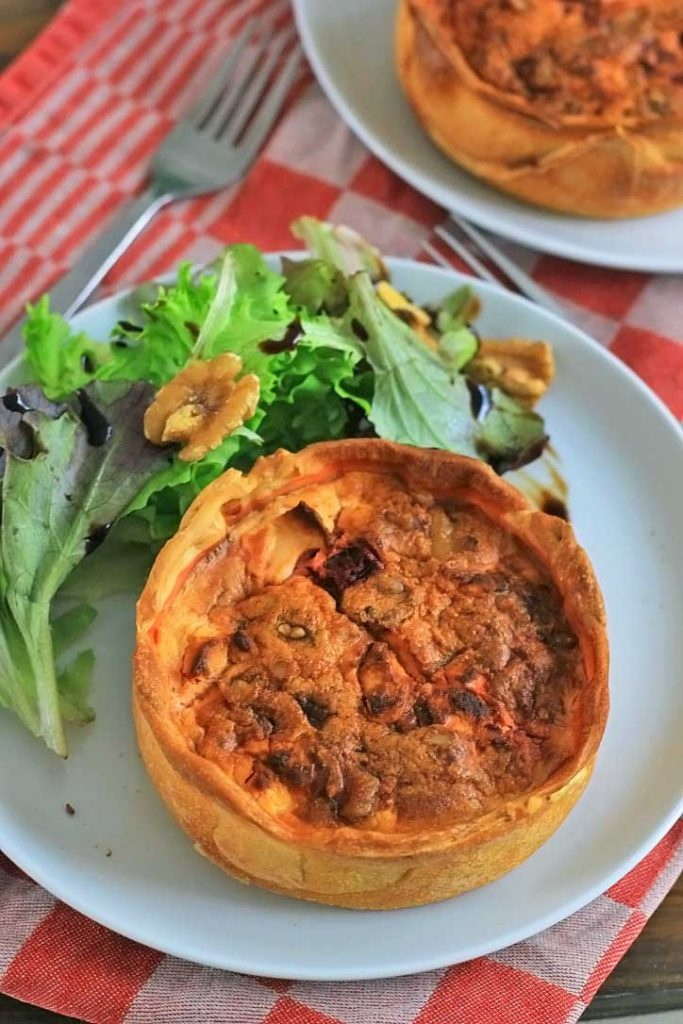 vegetarische rode biet quiche
