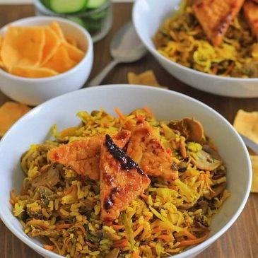 Recept voor vegetarische Nasi met Pittige Tempeh